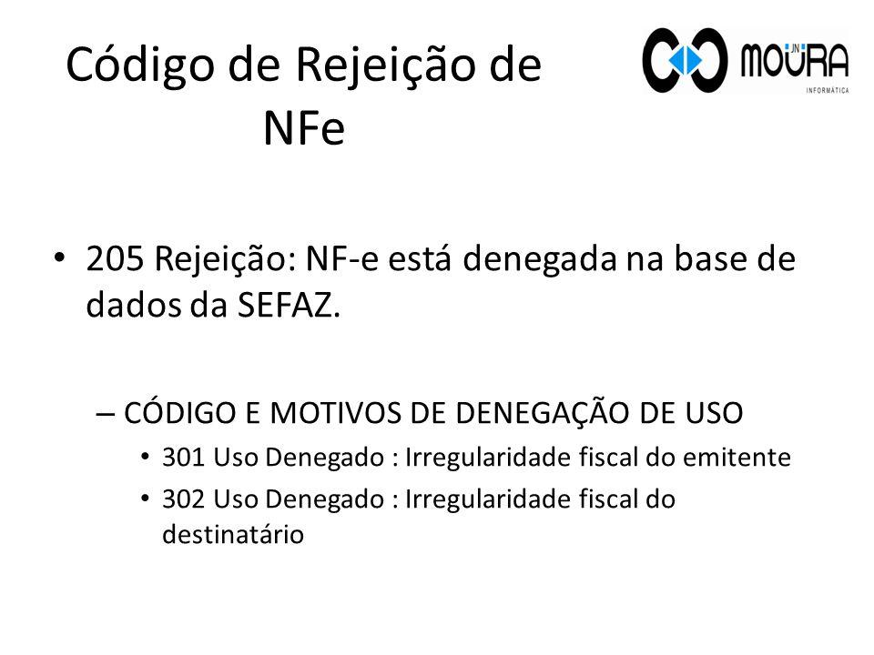 205 Rejeição: NF-e está denegada na base de dados da SEFAZ. – CÓDIGO E MOTIVOS DE DENEGAÇÃO DE USO 301 Uso Denegado : Irregularidade fiscal do emitent