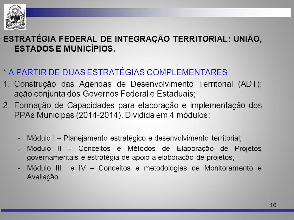 10 ESTRATÉGIA FEDERAL DE INTEGRAÇÃO TERRITORIAL: UNIÃO, ESTADOS E MUNICÍPIOS. * A PARTIR DE DUAS ESTRATÉGIAS COMPLEMENTARES 1.Construção das Agendas d