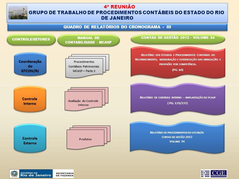 4ª REUNIÃO GRUPO DE TRABALHO DE PROCEDIMENTOS CONTÁBEIS DO ESTADO DO RIO DE JANEIRO 4ª REUNIÃO GRUPO DE TRABALHO DE PROCEDIMENTOS CONTÁBEIS DO ESTADO