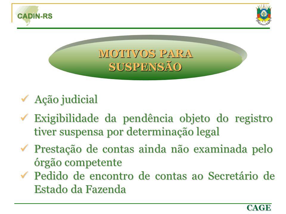 CAGE Ação judicial Ação judicial MOTIVOS PARA SUSPENSÃO Prestação de contas ainda não examinada pelo órgão competente Prestação de contas ainda não ex