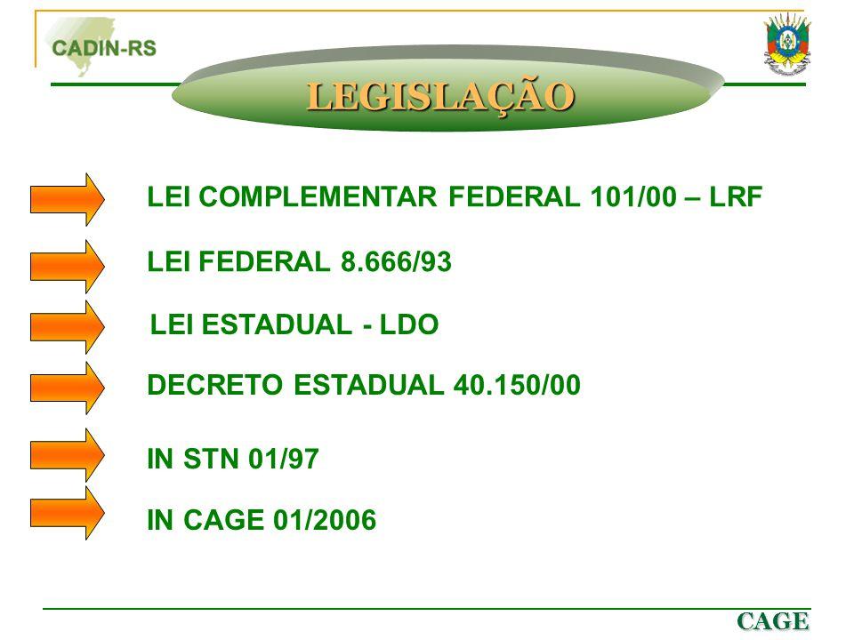 CAGE LEI COMPLEMENTAR FEDERAL 101/00 – LRF LEI FEDERAL 8.666/93 LEI ESTADUAL - LDO DECRETO ESTADUAL 40.150/00 IN STN 01/97 IN CAGE 01/2006 LEGISLAÇÃO