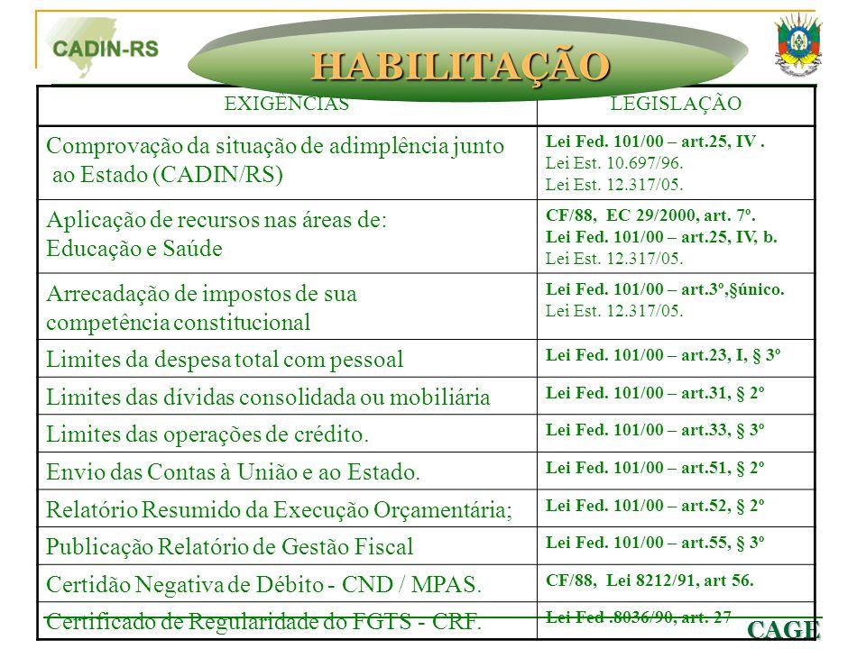 CAGE * * Itens 2.2.1 a 2.2.8-excetuam-se as ações de educação, saúde e assistência social. EXIGÊNCIASLEGISLAÇÃO Comprovação da situação de adimplência