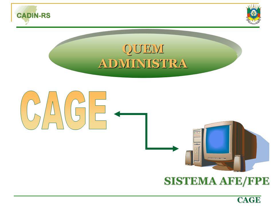 CAGE QUEM ADMINISTRA SISTEMA AFE/FPE