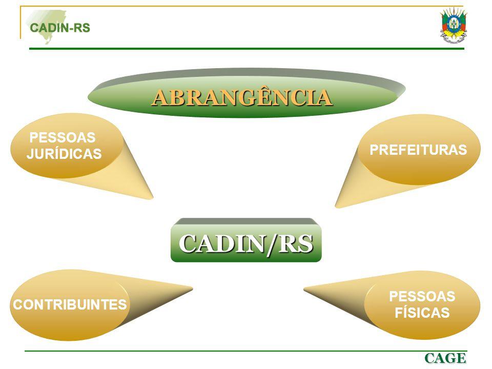 CAGE CADIN/RS PESSOAS JURÍDICAS CONTRIBUINTES PREFEITURAS PESSOAS FÍSICAS ABRANGÊNCIA