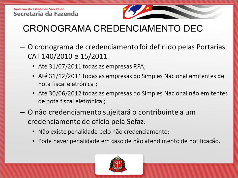 – O cronograma de credenciamento foi definido pelas Portarias CAT 140/2010 e 15/2011. Até 31/07/2011 todas as empresas RPA; Até 31/12/2011 todas as em
