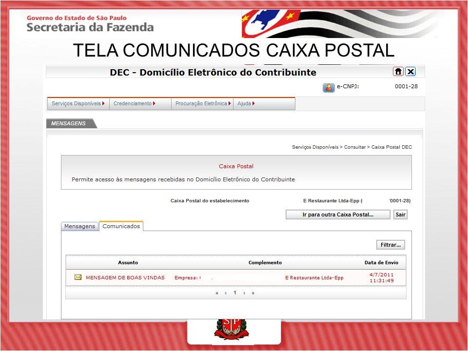 TELA COMUNICADOS CAIXA POSTAL