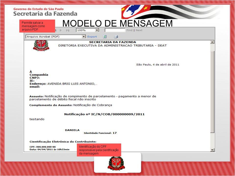 MODELO DE MENSAGEM Permite salvar a mensagem como arquivo PDF Identificação do CPF responsável pela cientificação da mensagem