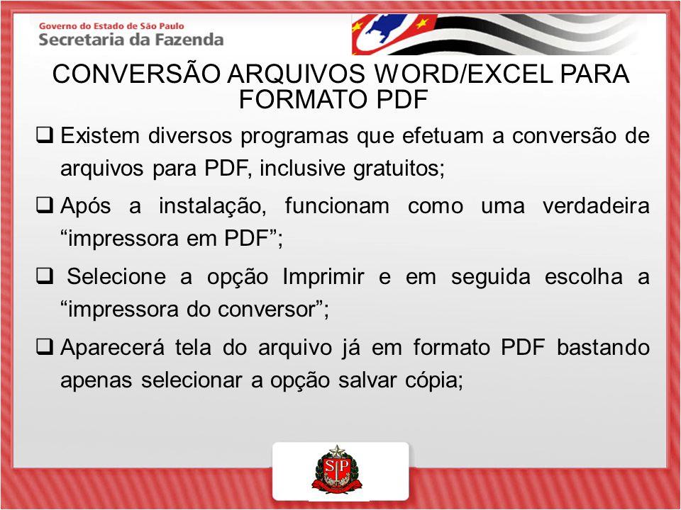 CONVERSÃO ARQUIVOS WORD/EXCEL PARA FORMATO PDF  Existem diversos programas que efetuam a conversão de arquivos para PDF, inclusive gratuitos;  Após