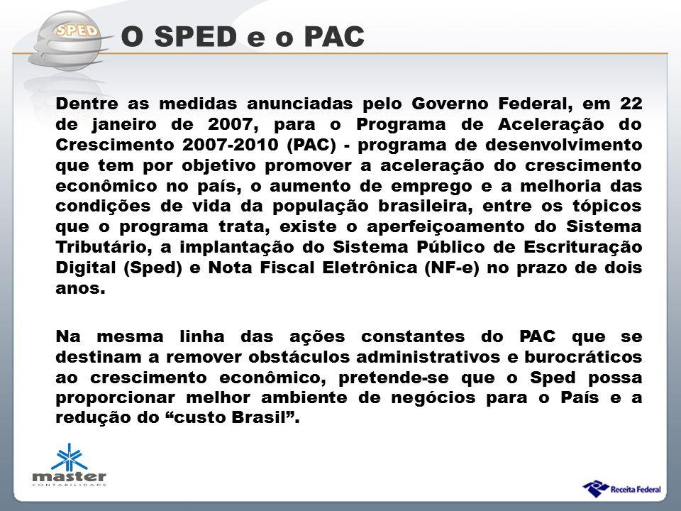Sistema Público de Escrituração Digital Dentre as medidas anunciadas pelo Governo Federal, em 22 de janeiro de 2007, para o Programa de Aceleração do
