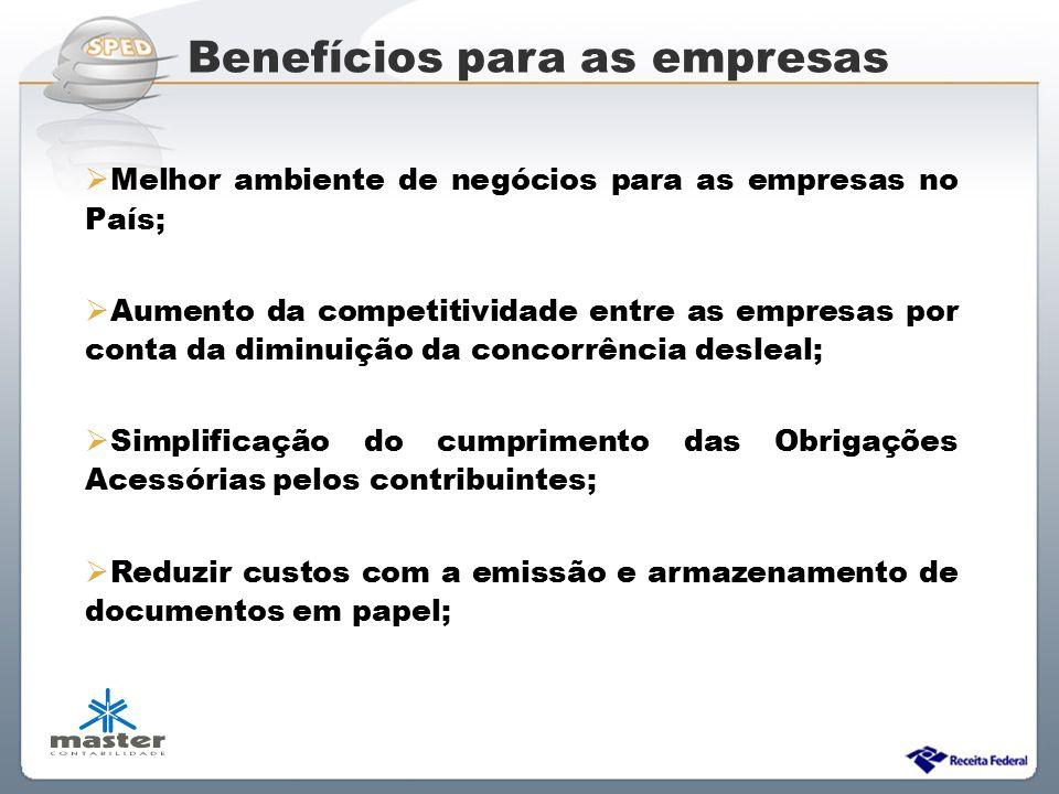 Sistema Público de Escrituração Digital Benefícios para as empresas  Melhor ambiente de negócios para as empresas no País;  Aumento da competitivida