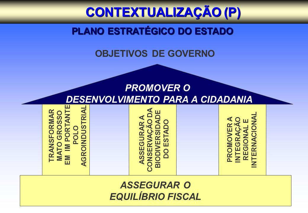 OBJETIVOS DE GOVERNO ASSEGURAR O EQUILÍBRIO FISCAL PROMOVER O DESENVOLVIMENTO PARA A CIDADANIA TRANSFORMAR MATO GROSSO EM IM PORTANTE POLO AGROINDUSTRIAL ASSEGURAR A CONSERVAÇÃO DA BIODIVERSIDADE DO ESTADO PROMOVER A INTEGRAÇÃO REGIONAL E INTERNACIONAL PLANO ESTRATÉGICO DO ESTADO CONTEXTUALIZAÇÃO (P)