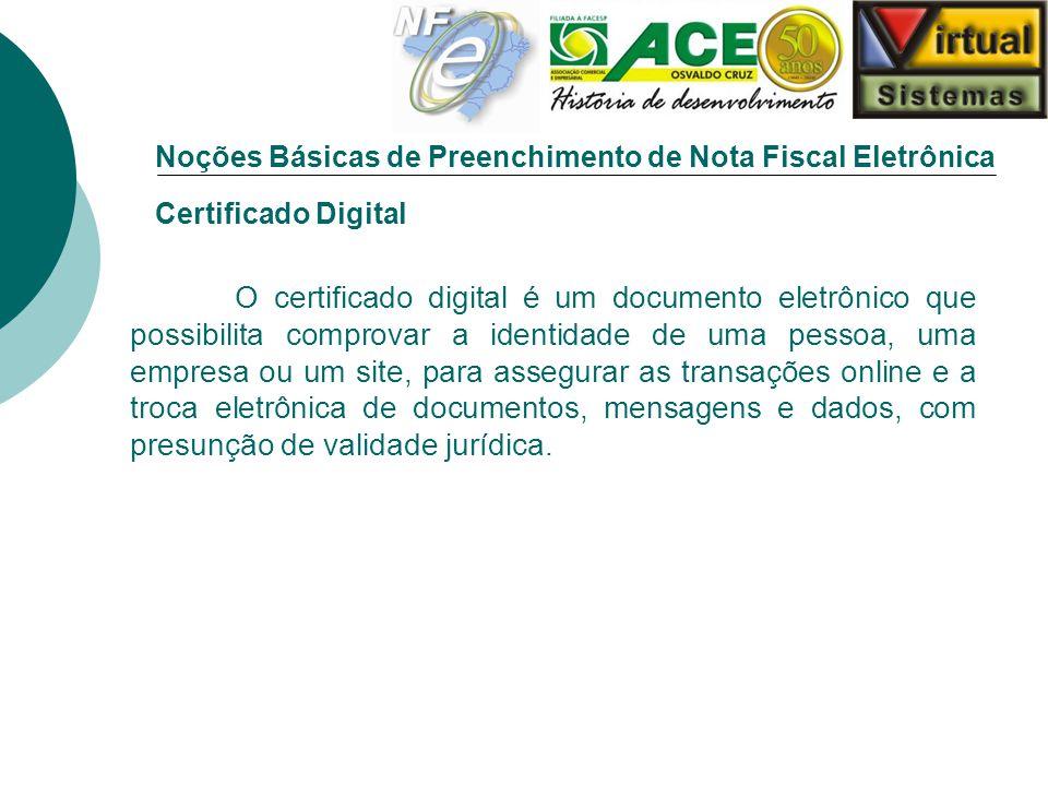 Noções Básicas de Preenchimento de Nota Fiscal Eletrônica Modelos de Certificado Digital: A1 - Gerado e armazenado em software.
