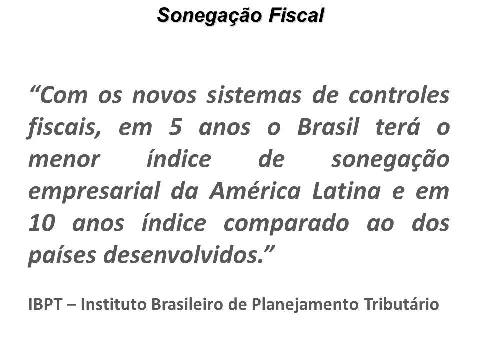 Com os novos sistemas de controles fiscais, em 5 anos o Brasil terá o menor índice de sonegação empresarial da América Latina e em 10 anos índice comparado ao dos países desenvolvidos. IBPT – Instituto Brasileiro de Planejamento Tributário Sonegação Fiscal