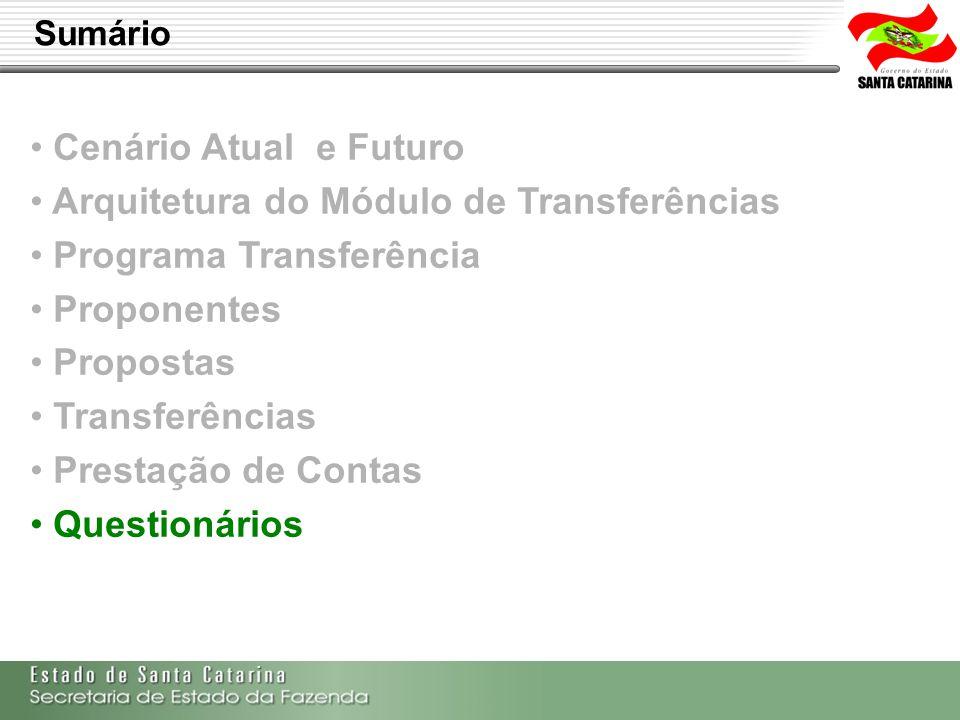 Secretaria de Estado da Fazenda de Santa Catarina – SEF/SC Indra Politec Cenário Atual e Futuro Arquitetura do Módulo de Transferências Programa Trans