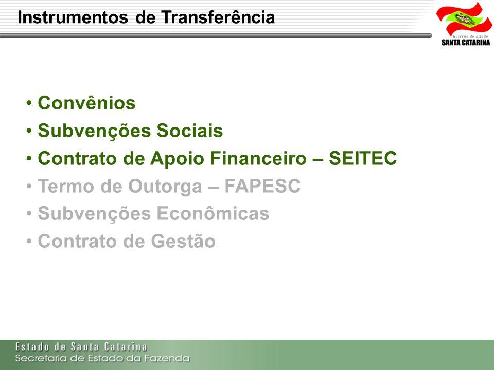 Secretaria de Estado da Fazenda de Santa Catarina – SEF/SC Indra Politec Convênios Subvenções Sociais Contrato de Apoio Financeiro – SEITEC Termo de O