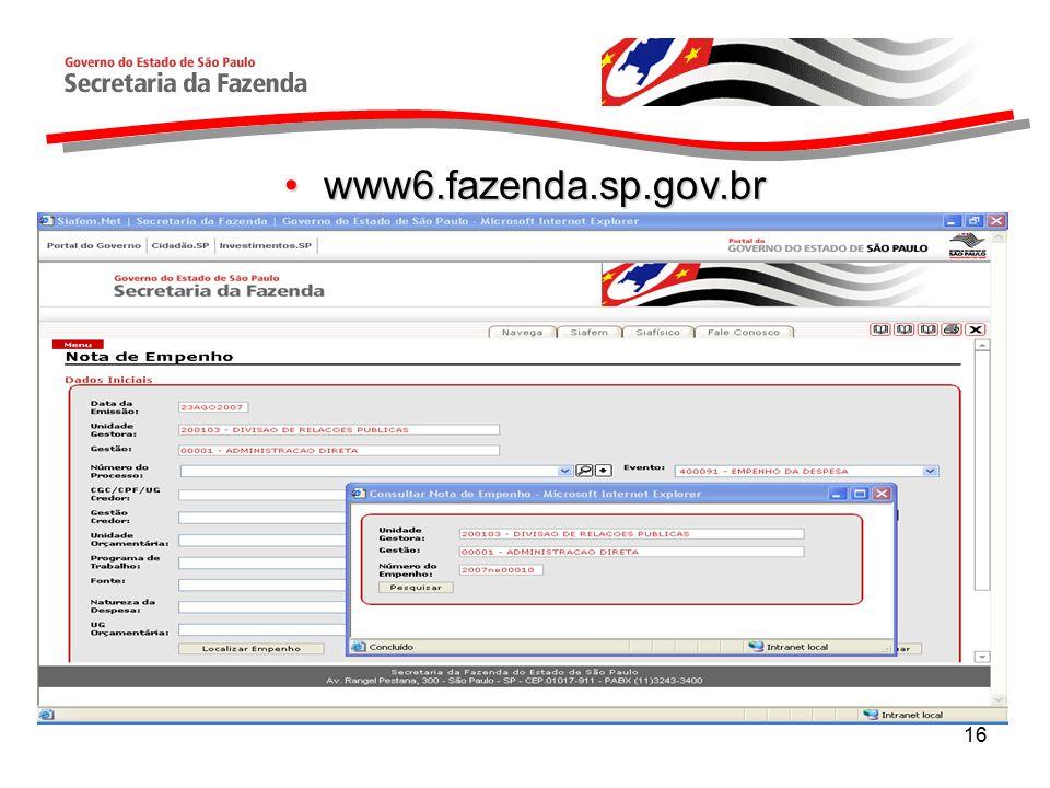 16 www6.fazenda.sp.gov.brwww6.fazenda.sp.gov.br
