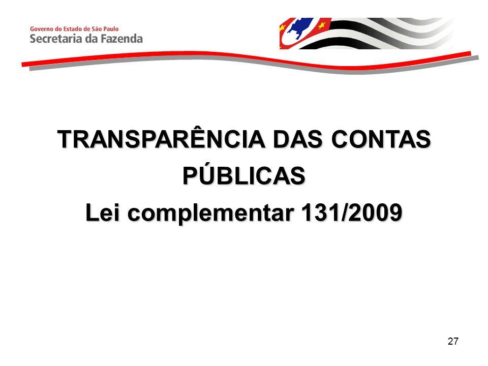 27 TRANSPARÊNCIA DAS CONTAS PÚBLICAS Lei complementar 131/2009