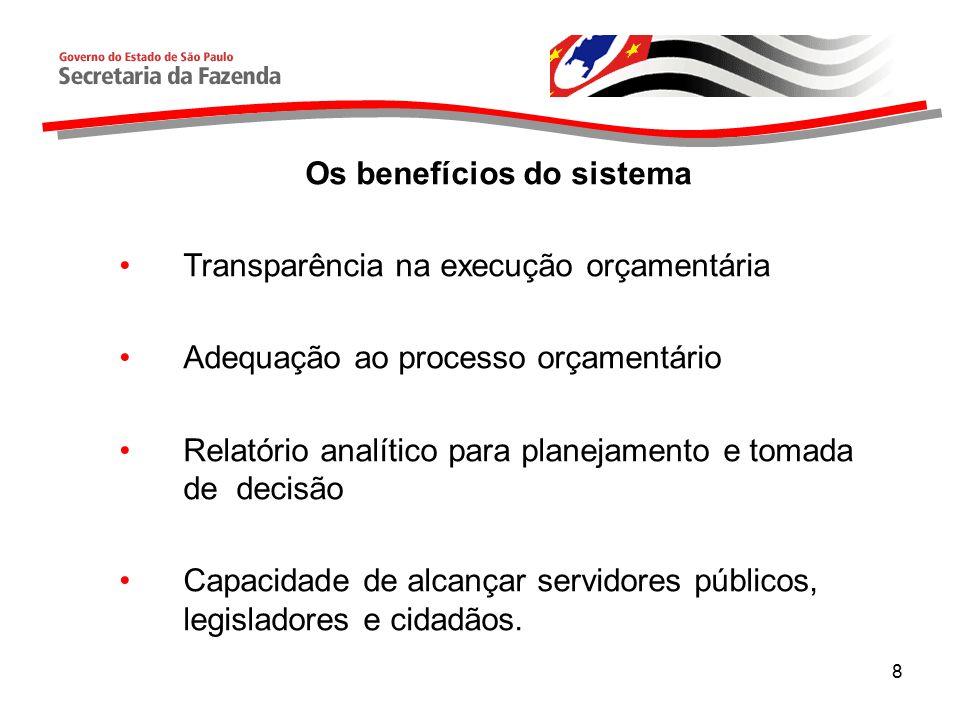 8 Os benefícios do sistema Transparência na execução orçamentária Adequação ao processo orçamentário Relatório analítico para planejamento e tomada de decisão Capacidade de alcançar servidores públicos, legisladores e cidadãos.