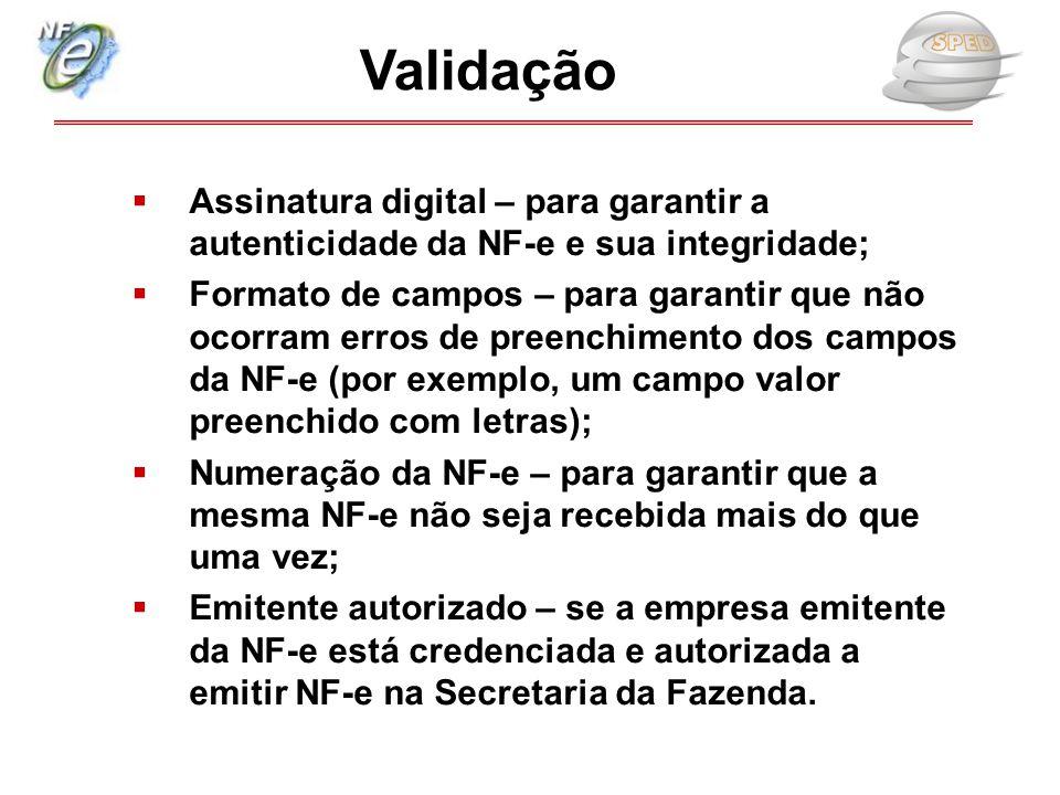  Assinatura digital – para garantir a autenticidade da NF-e e sua integridade;  Formato de campos – para garantir que não ocorram erros de preenchim
