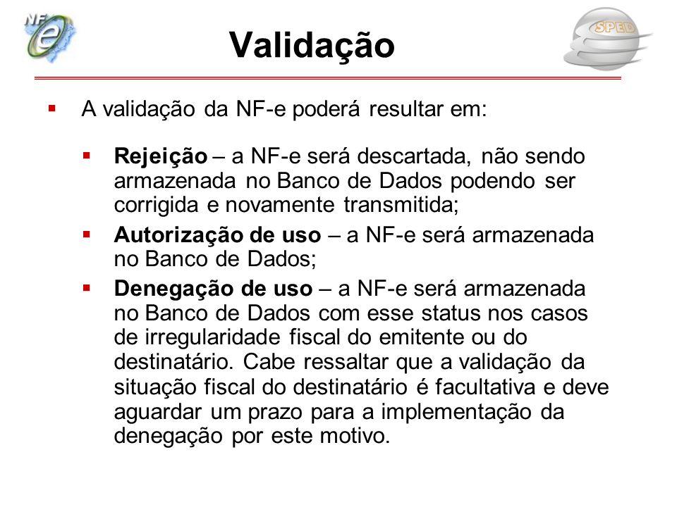  A validação da NF-e poderá resultar em:  Rejeição – a NF-e será descartada, não sendo armazenada no Banco de Dados podendo ser corrigida e novament