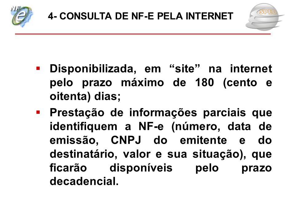 """ Disponibilizada, em """"site"""" na internet pelo prazo máximo de 180 (cento e oitenta) dias;  Prestação de informações parciais que identifiquem a NF-e"""