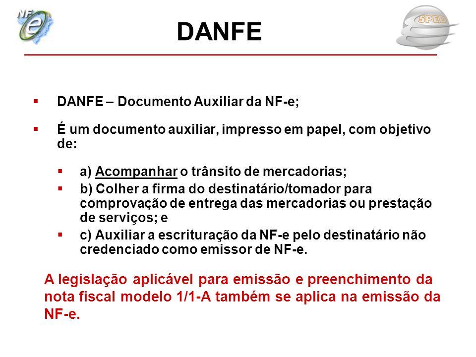  DANFE – Documento Auxiliar da NF-e;  É um documento auxiliar, impresso em papel, com objetivo de:  a) Acompanhar o trânsito de mercadorias;  b) C