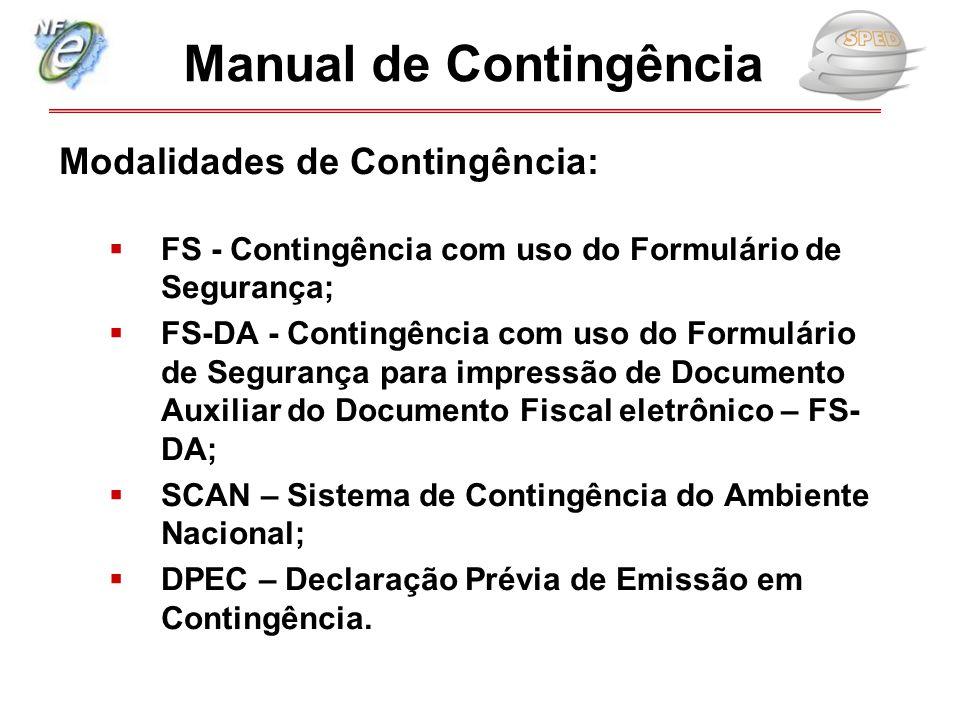 Modalidades de Contingência:  FS - Contingência com uso do Formulário de Segurança;  FS-DA - Contingência com uso do Formulário de Segurança para im