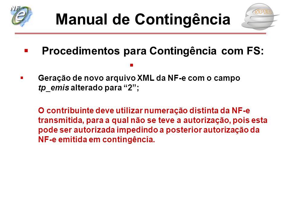 """ Procedimentos para Contingência com FS:   Geração de novo arquivo XML da NF-e com o campo tp_emis alterado para """"2""""; O contribuinte deve utilizar"""