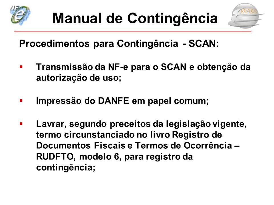 Procedimentos para Contingência - SCAN:  Transmissão da NF-e para o SCAN e obtenção da autorização de uso;  Impressão do DANFE em papel comum;  Lav