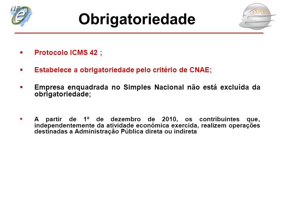  Protocolo ICMS 42 ;  Estabelece a obrigatoriedade pelo critério de CNAE;  Empresa enquadrada no Simples Nacional não está excluída da obrigatoried