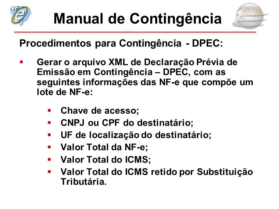 Procedimentos para Contingência - DPEC:  Gerar o arquivo XML de Declaração Prévia de Emissão em Contingência – DPEC, com as seguintes informações das
