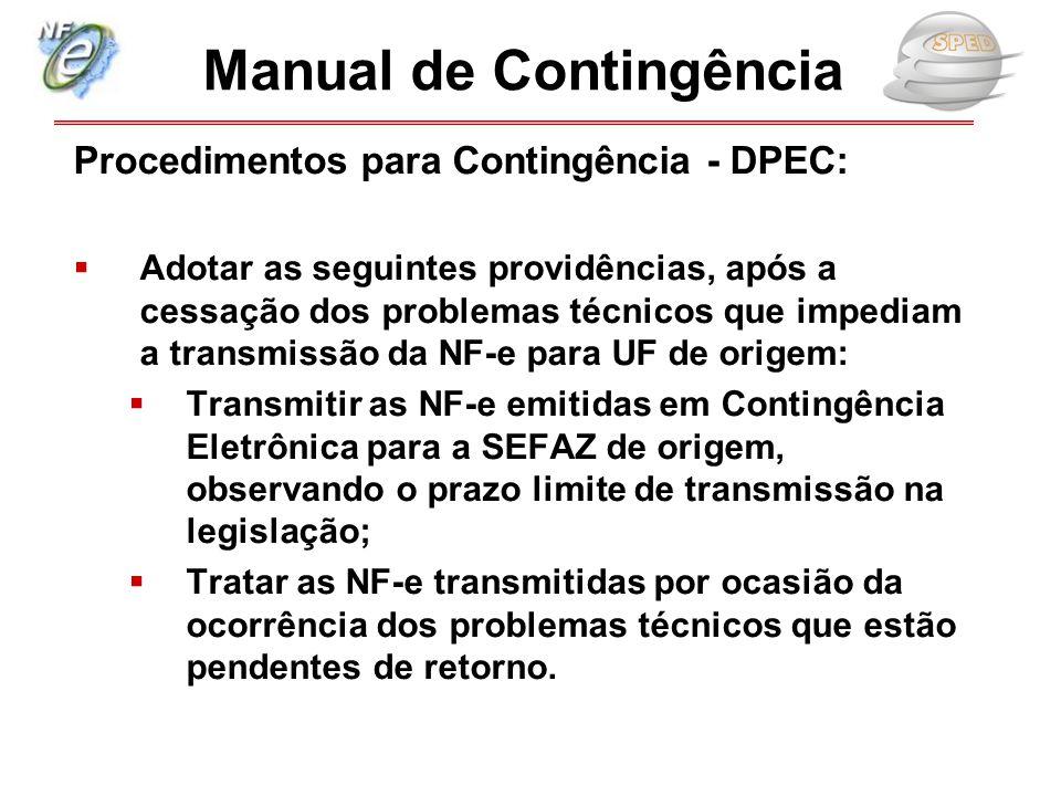 Procedimentos para Contingência - DPEC:  Adotar as seguintes providências, após a cessação dos problemas técnicos que impediam a transmissão da NF-e