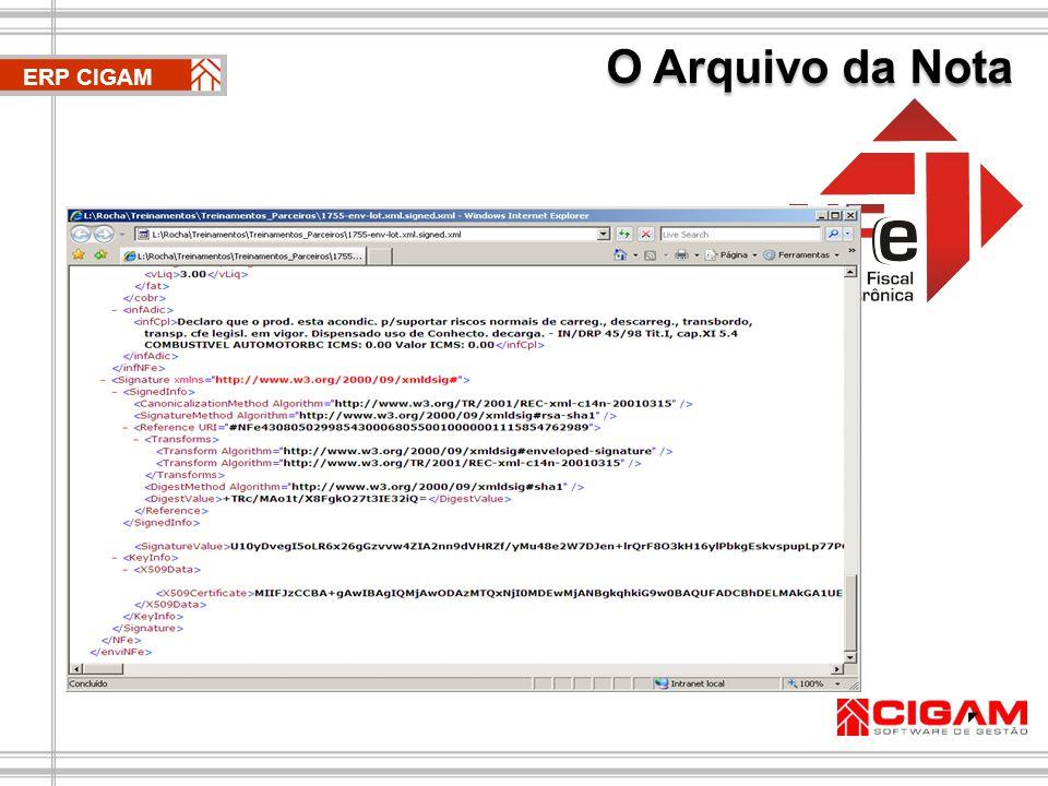 O Arquivo da Nota O CIGAM disponibiliza a opção de envio automático do arquivo da nota fiscal para o seu cliente através de e-mail no momento do retorno com aprovação da SEFAZ, bem como, possibilita a importação dos arquivos XML das notas eletrônicas emitidas pelos seus fornecedores(nota de entrada).