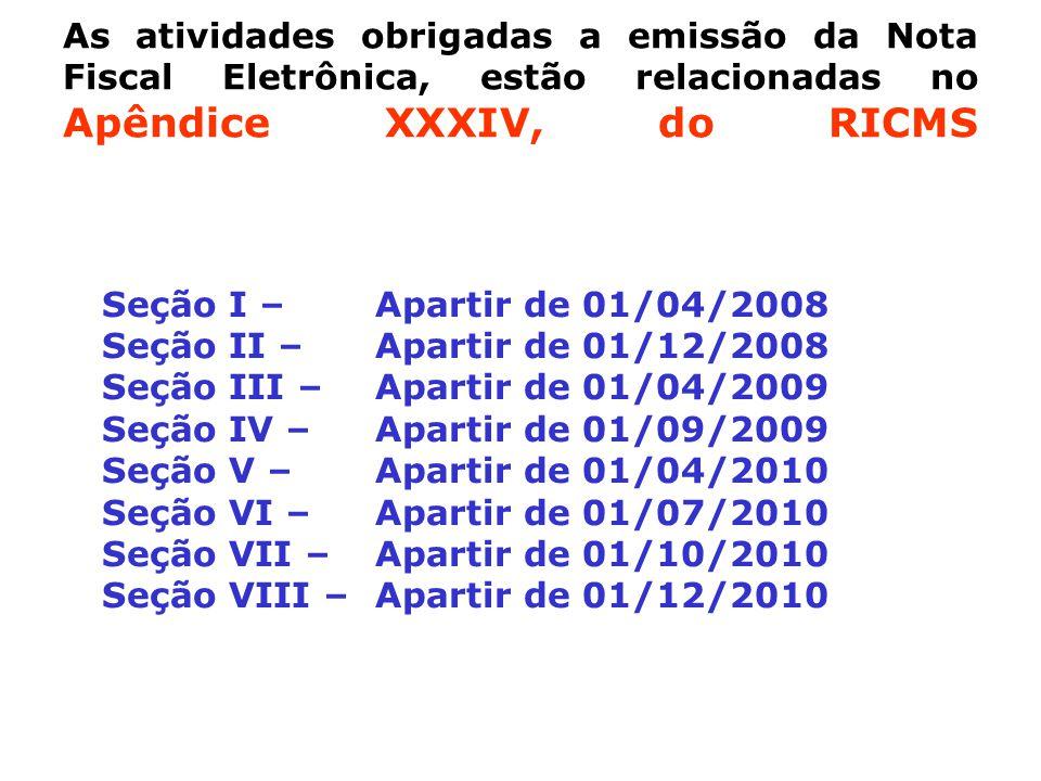 As atividades obrigadas a emissão da Nota Fiscal Eletrônica, estão relacionadas no Apêndice XXXIV, do RICMS Seção I – Apartir de 01/04/2008 Seção II – Apartir de 01/12/2008 Seção III –Apartir de 01/04/2009 Seção IV – Apartir de 01/09/2009 Seção V – Apartir de 01/04/2010 Seção VI – Apartir de 01/07/2010 Seção VII – Apartir de 01/10/2010 Seção VIII – Apartir de 01/12/2010