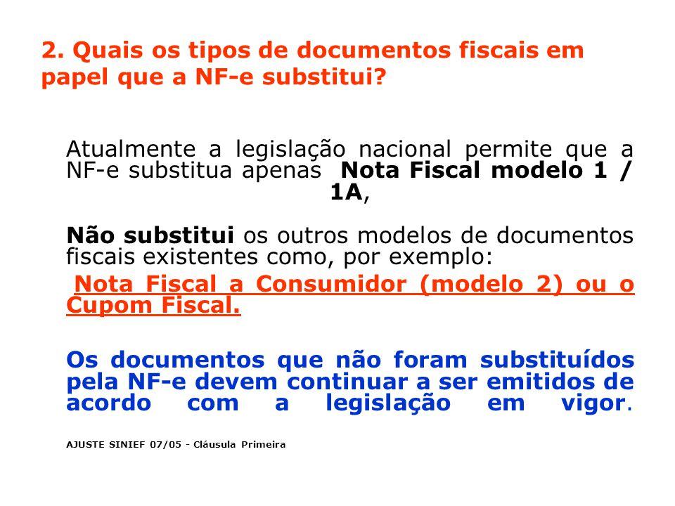 2.Quais os tipos de documentos fiscais em papel que a NF-e substitui.