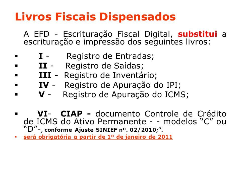 Livros Fiscais Dispensados A EFD - Escrituração Fiscal Digital, substitui a escrituração e impressão dos seguintes livros:  I - Registro de Entradas;  II - Registro de Saídas;  III - Registro de Inventário;  IV - Registro de Apuração do IPI;  V - Registro de Apuração do ICMS;  VI- CIAP - documento Controle de Crédito de ICMS do Ativo Permanente - - modelos C ou D -, conforme Ajuste SINIEF nº.