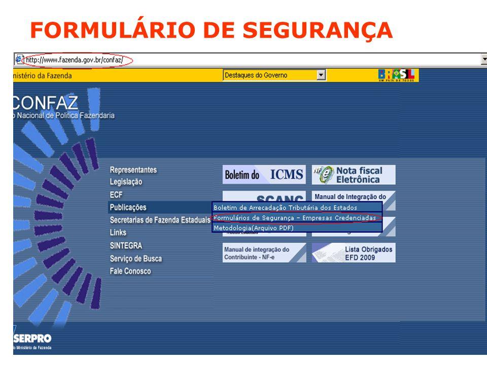 FORMULÁRIO DE SEGURANÇA