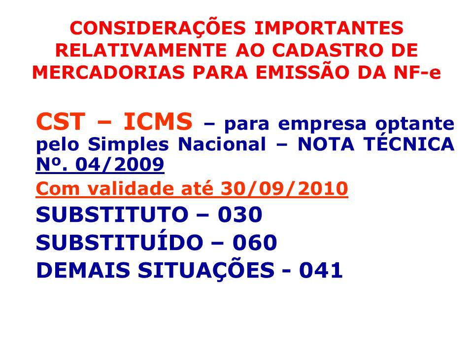 CONSIDERAÇÕES IMPORTANTES RELATIVAMENTE AO CADASTRO DE MERCADORIAS PARA EMISSÃO DA NF-e CST – ICMS – para empresa optante pelo Simples Nacional – NOTA TÉCNICA Nº.