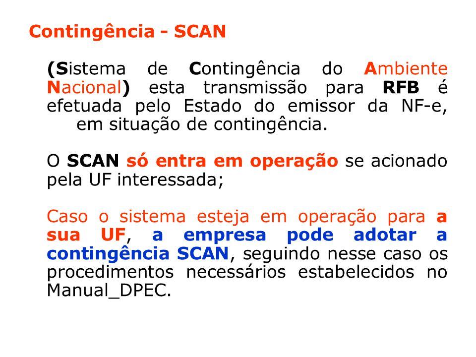 Contingência - SCAN (Sistema de Contingência do Ambiente Nacional) esta transmissão para RFB é efetuada pelo Estado do emissor da NF-e, em situação de contingência.