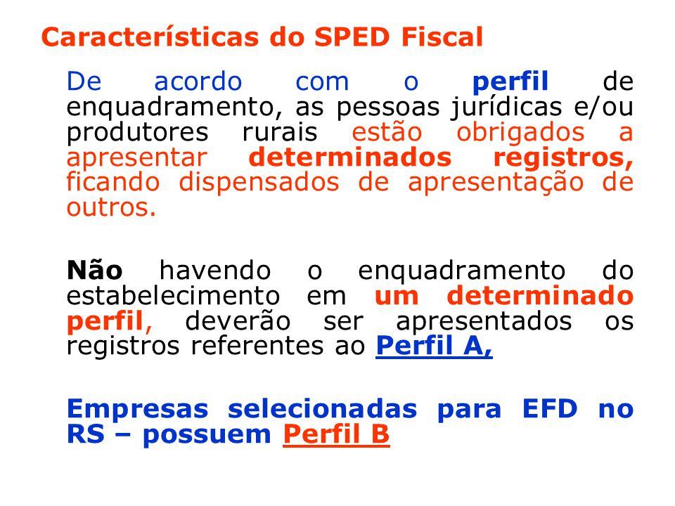 Características do SPED Fiscal De acordo com o perfil de enquadramento, as pessoas jurídicas e/ou produtores rurais estão obrigados a apresentar determinados registros, ficando dispensados de apresentação de outros.
