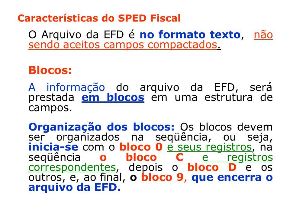 Características do SPED Fiscal O Arquivo da EFD é no formato texto, não sendo aceitos campos compactados.