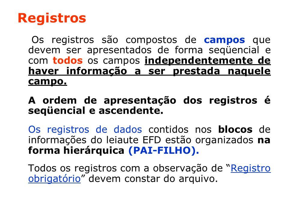 Registros Os registros são compostos de campos que devem ser apresentados de forma seqüencial e com todos os campos independentemente de haver informação a ser prestada naquele campo.