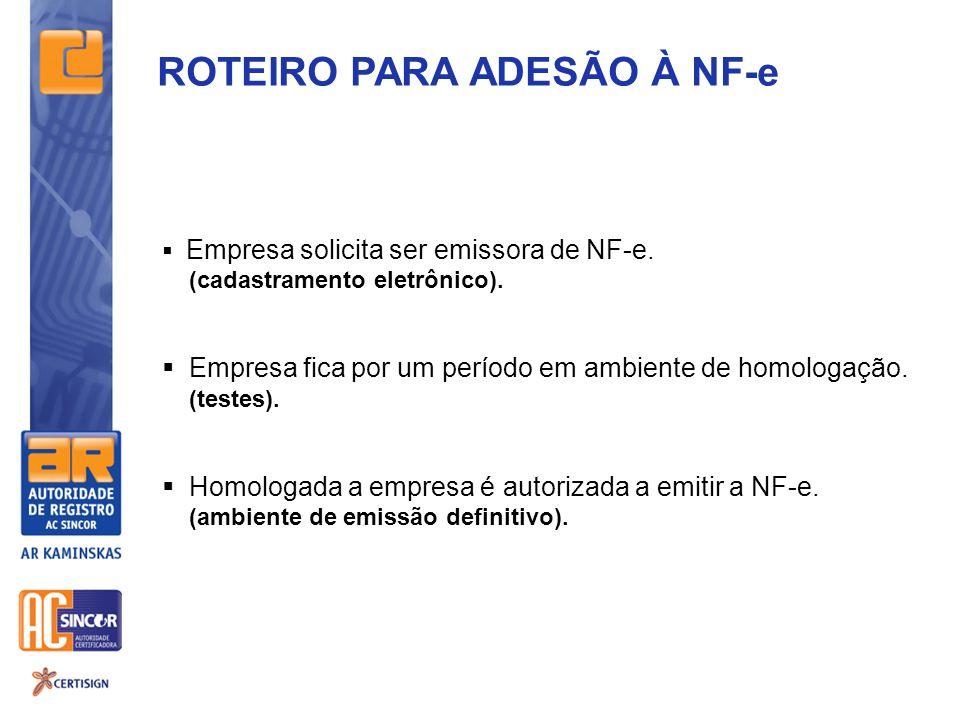 ROTEIRO PARA ADESÃO À NF-e  Empresa solicita ser emissora de NF-e. (cadastramento eletrônico).  Empresa fica por um período em ambiente de homologaç