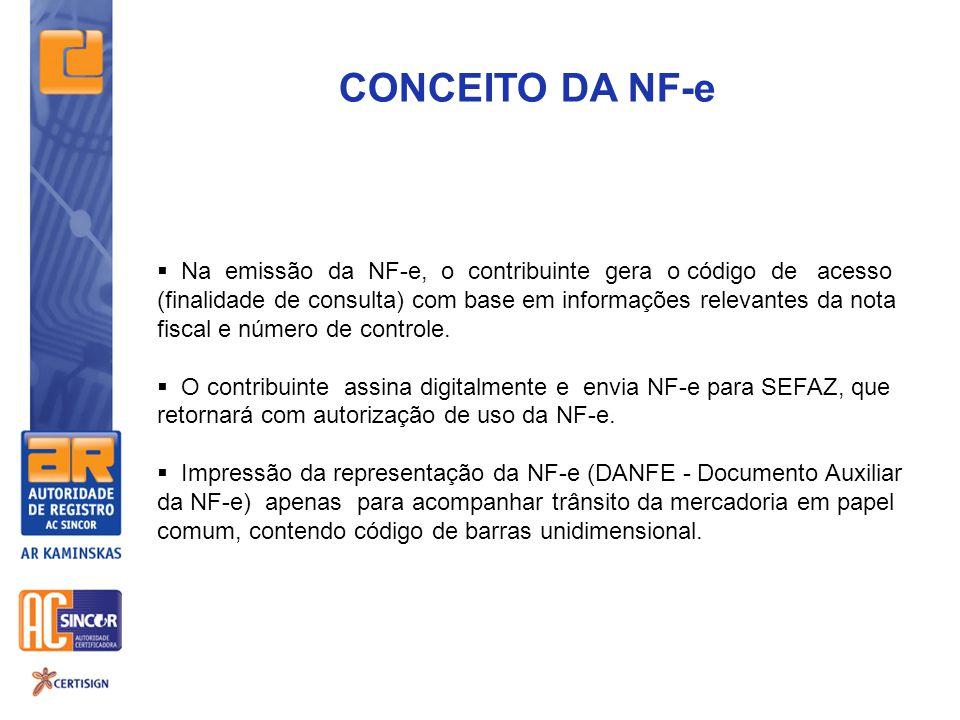 CONCEITO DA NF-e  Na emissão da NF-e, o contribuinte gera o código de acesso (finalidade de consulta) com base em informações relevantes da nota fisc