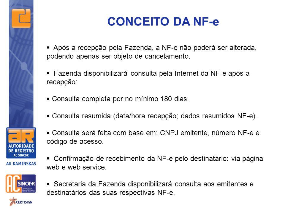 CONCEITO DA NF-e  Após a recepção pela Fazenda, a NF-e não poderá ser alterada, podendo apenas ser objeto de cancelamento.  Fazenda disponibilizará