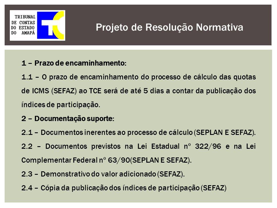 Projeto de Resolução Normativa 1 – Prazo de encaminhamento: 1.1 – O prazo de encaminhamento do processo de cálculo das quotas de ICMS (SEFAZ) ao TCE s