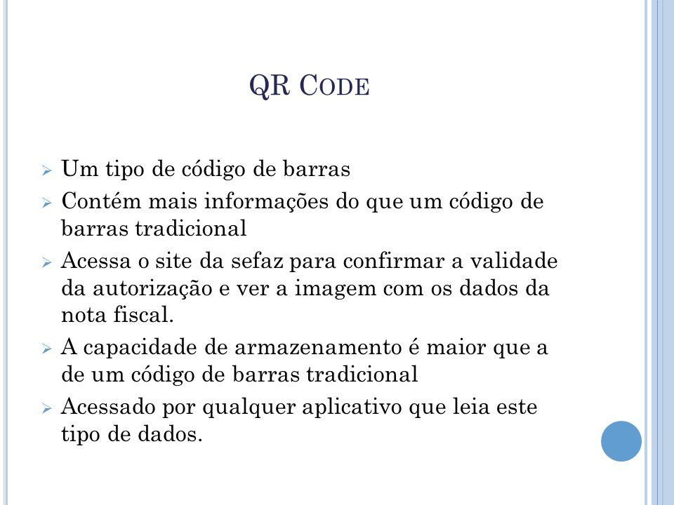 QR C ODE  Um tipo de código de barras  Contém mais informações do que um código de barras tradicional  Acessa o site da sefaz para confirmar a vali