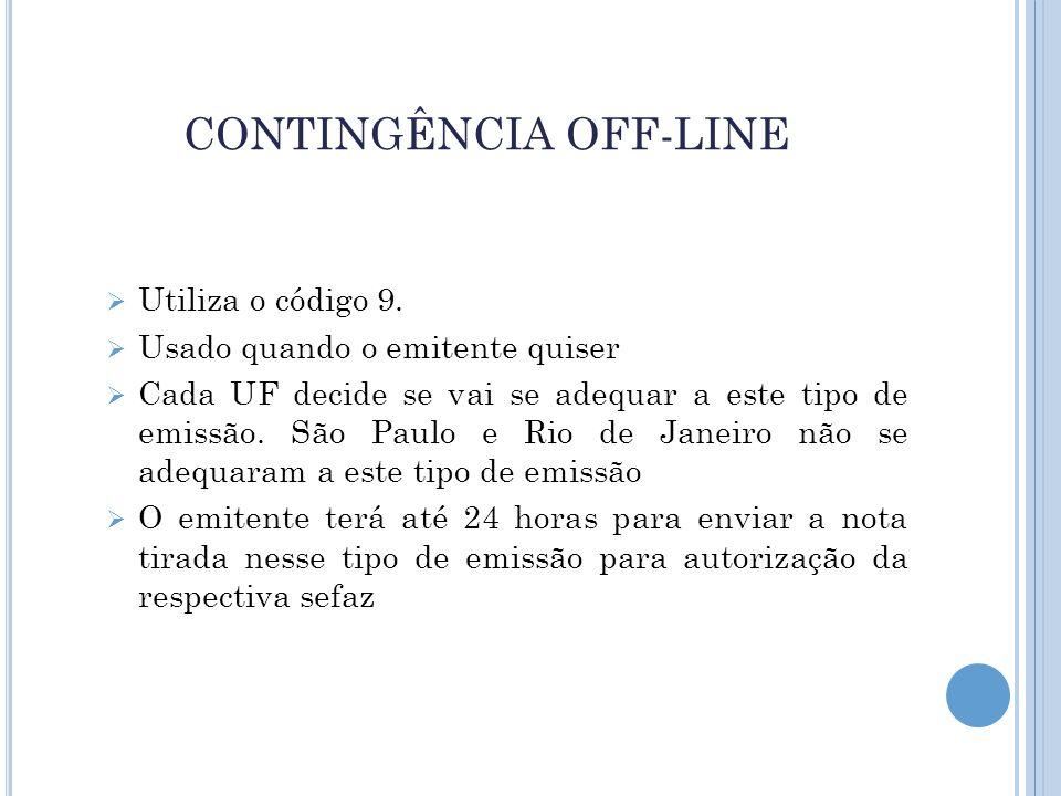 CONTINGÊNCIA OFF-LINE  Utiliza o código 9.  Usado quando o emitente quiser  Cada UF decide se vai se adequar a este tipo de emissão. São Paulo e Ri