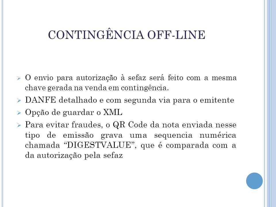CONTINGÊNCIA OFF-LINE  O envio para autorização à sefaz será feito com a mesma chave gerada na venda em contingência.  DANFE detalhado e com segunda