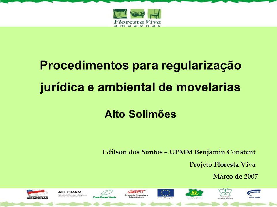 Edilson dos Santos – UPMM Benjamin Constant Projeto Floresta Viva Março de 2007 Procedimentos para regularização jurídica e ambiental de movelarias Al